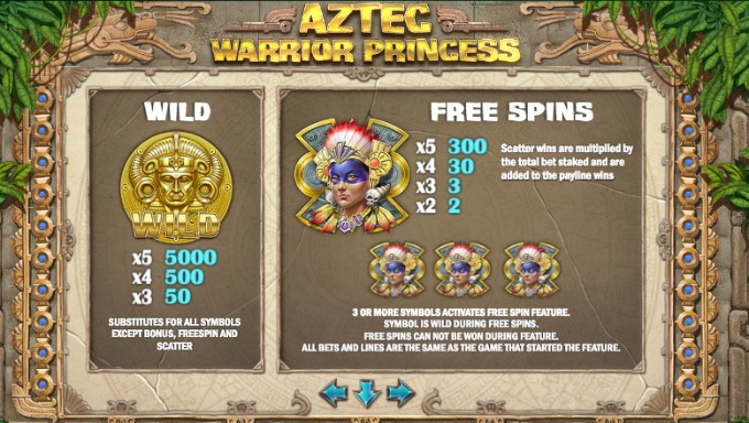 Aztec Warrior Princess slot bonus