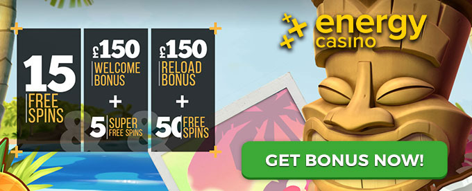 Play at EnergyCasino and get a £150 welcome bonus