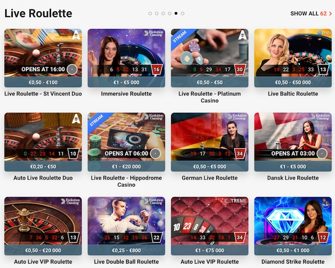 Live Roulette at LeoVegas casino