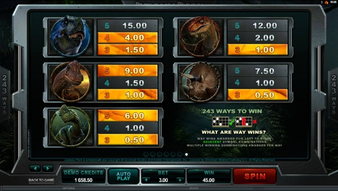 Play Jurassic Park slot at InstaCasino