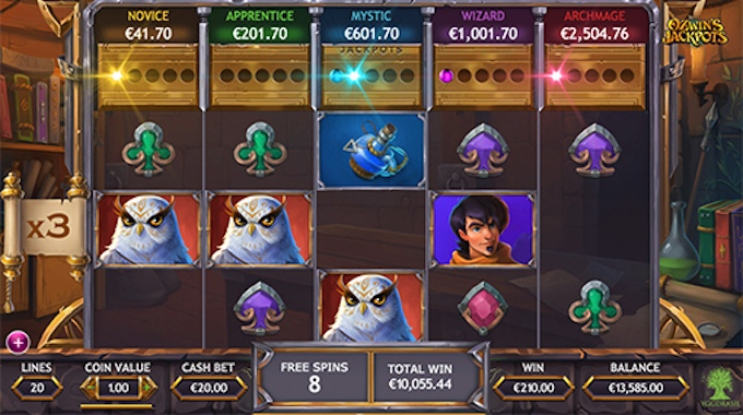 Ozwins Jackpots free spins feature