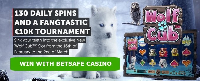 Get Free spins and win £10K Wolf Cub slot tournament at Betsafe casino