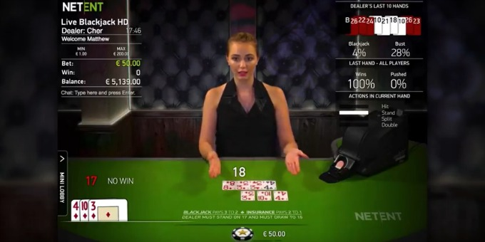 Play NetEnt Live Common Draw Blackjack at Dunder Casino