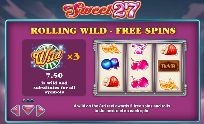 Sweet 27 slot rolling wilds and free spins