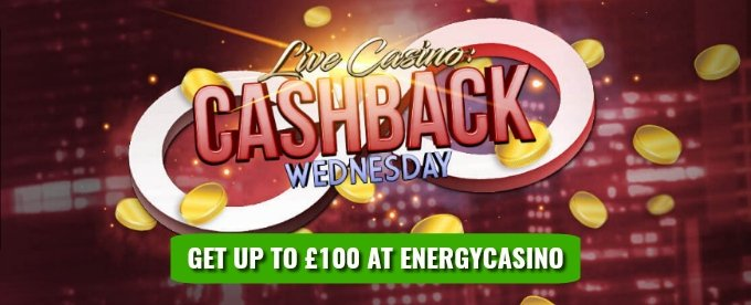 Get up to £100 Live Casino cashback at EnergyCasino