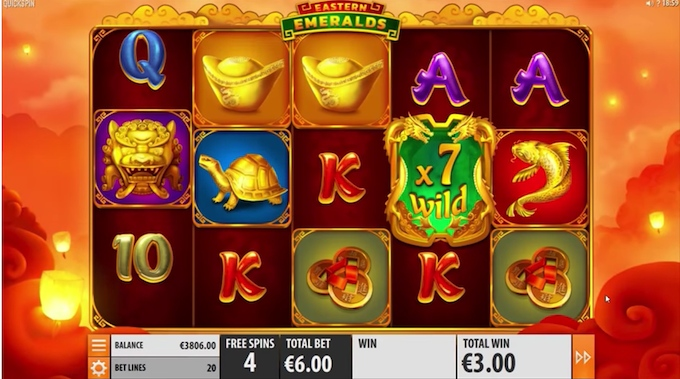 Eastern Emeralds slot free spins mode
