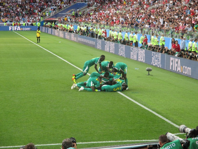 Senegal players celebrating - World Cup 2018
