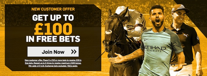 Betfair welcome offer - up to £100 in free bets