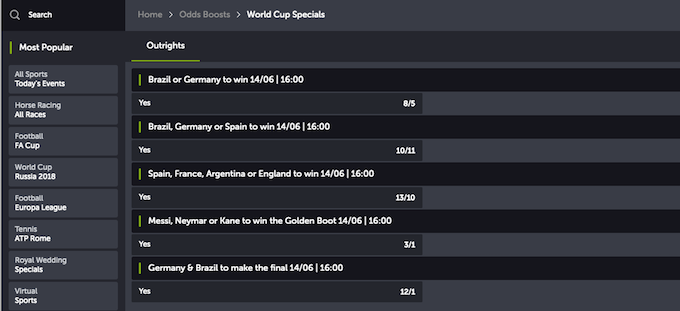 World Cup 2018 betting comeon