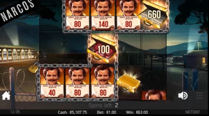Narcos slot locked up feature