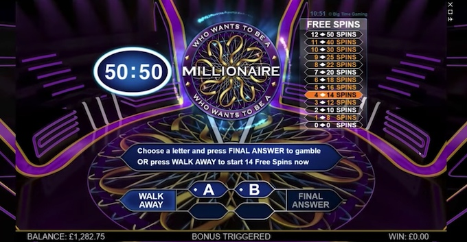 Slots with bonus games - who wants to be a millionaire megaways