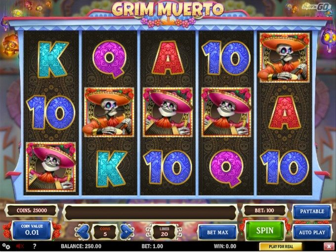 Play Grim Muerto slot at LeoVegas casino