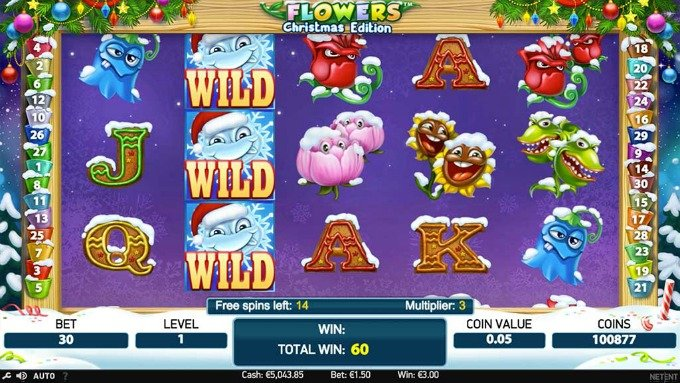 Play Flowers Christmas Edition slot at Dunder casino