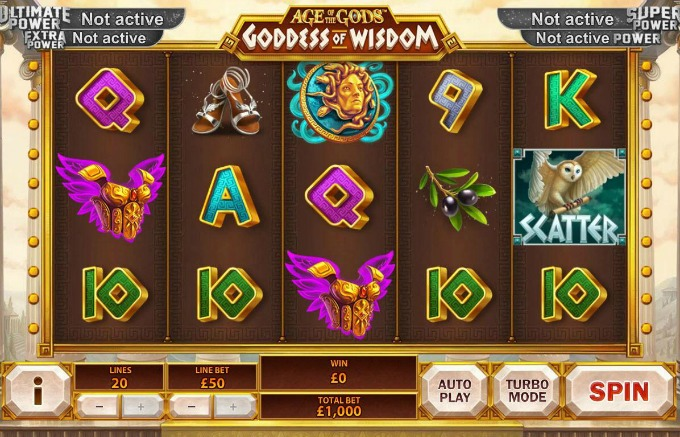 Play Age of the Gods: Goddess of Wisdom slot at Paddy Power Casino