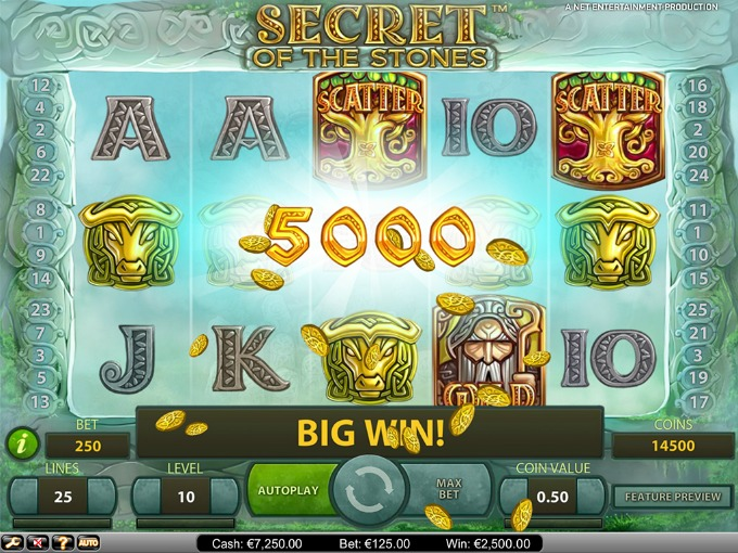 Play Secret of the Stones slot at VideoSlots casino