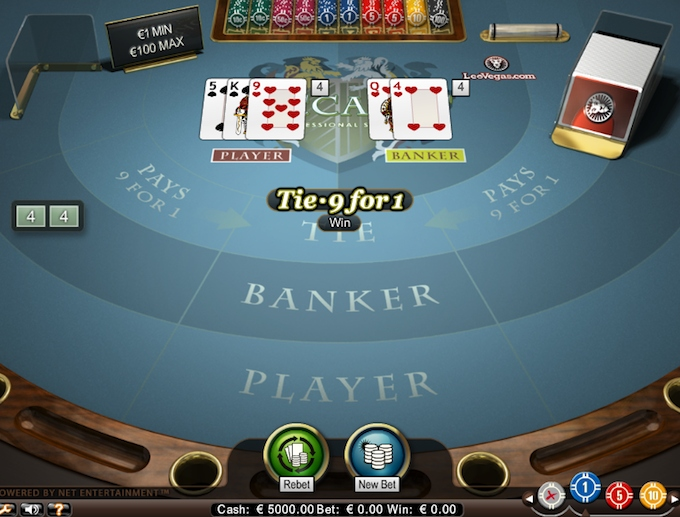 Baccarat game at LeoVegas casino